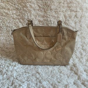 COACH Patent Leather Beige Hand Bag